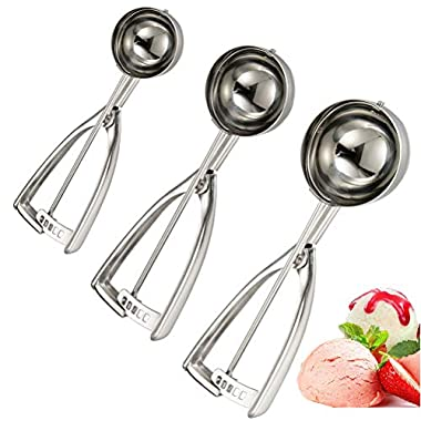 Ice Cream Scoops, Cookie Scoops Set of 3, Stainless Steel Ice Cream Scooper with Trigger, Meat Ballers/Potato Mashers/Melon Ballers- Elegant Package, Dishwasher Safe