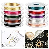 TIMESETL 10 Pack Jewelry Craft Wire Jewelry Copper Beading Wire, Tarnish Resistant Copper Wire for Bracelet, Necklaces, Jewelry Making Supplies and Crafting (10 Colors, 26 Gauge)