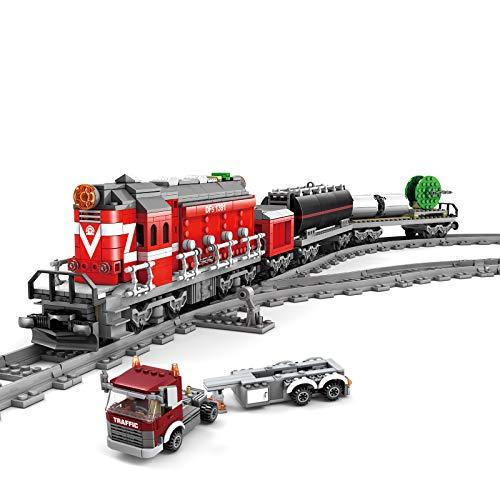 SICI City Güterzug mit Schiene, Technik Zug Eisenbahn Lokomotive Modell mit Motor und Beleuchtungsset, Bausteine Zug 1002 Teile Kompatibel mit Lego Technik
