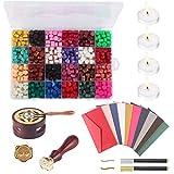 Verdelife Kit cera sigillante, cera sigillante per vernice retrò con forno di fusione, perline di cera 24 colori, per sigillatura di timbri di cera