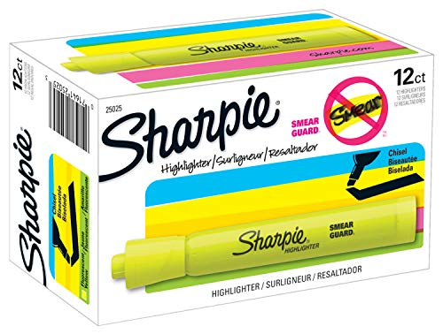 Sharpie Tank Highlighters   Chisel Tip Yellow Highlighter Pens, 12 Count