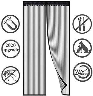 KAHEIGN 90 x 210CM Pantalla de Puerta Magnética, Mosquitera Insecto Cortina de La Puerta de Malla El Sello de Arriba a Abajo se Cierra Automáticamente Fácil de Instalar sin Taladrar (negro)