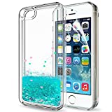 LeYi Compatible for iPhone SE Case (2016), iPhone 5S Case, iPhone 5 Case with HD Screen Protector for Girls Women, Cute Glitter Liquid Clear Protective Case for iPhone 5, Turquoise