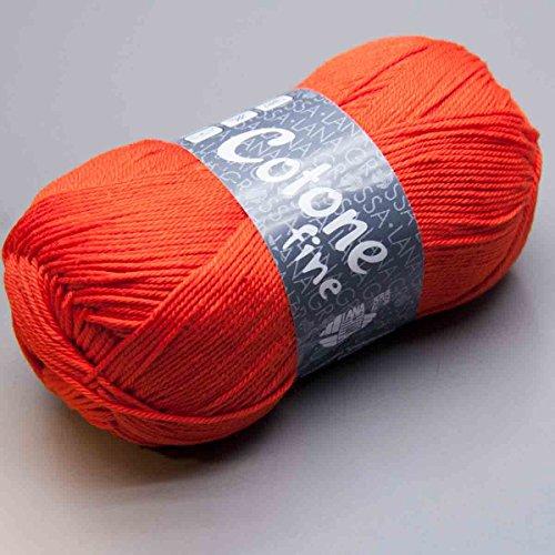 Lana Grossa Cotone fine Baumwolle gekämmt gasiert mercerisiert (665 - Neonrot)