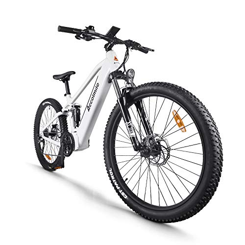 Accolmile Bici Elettrica Mountain Bike Elettrica per 27,5 Pollici, Motore Centrale BAFANG 48V 750W con batteria al litio 17,5 Ah, Sistema Frenante a Doppio Disco a Sospensione Completa Shimano 9