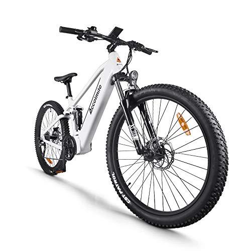 Bicicleta de montaña eléctrica de 27,5 pulgadas, motor eléctrico central BAFANG 48V 750W, con batería de litio extraíble de 12,8 Ah, sistema de frenos de doble disco de suspensión completa Shimano 9