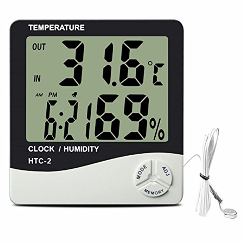 HYDROPONICS DIGITAL LCD THERMOMETER HYGROMETER GROW TENT ROOM HUMIDITY PROBE UK
