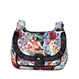 Angelkiss Leather Crossbody Bag Purse Wallet Bag For Women Pouch Lady Wallet with Shoulder Strap (Black-Flower)