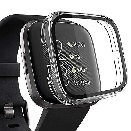 Miimall Funda Compatible con Fitbit Versa 2 Cristal Vidrio Templado, [PC Case] [HD Película] Carcasa Protectora de Pantalla Duro para Fitbit Versa 2 - Transparente