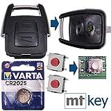 Juego de reparación Opel Juego de reparación de Llaves para automóvil con 2 Botones + botón + batería para Opel Astra G Zafira A Omega B Vetra B 2 Botones