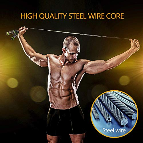 Gritin-Skipping-Rope-Speed-Jump-Rope-Soft-Memory-Foam-Handle-Tangle-free-Adjustable-Rope-Rapid-Ball-Bearings-Fitness-Workouts-Fat-Burning-Exercises-Boxing-Spare-Rope-Length-Adjuster-Included