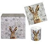 Juego de 22 piezas de decoración de mesa OH Rabbit Pascua con conejo de Pascua y huevos de Pascua en blanco y negro – Servilletas y vela mesa de primavera y Pascua