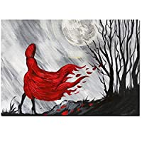 現代の抽象的な数字赤い長い髪の少女の森のキャンバスの絵画ポスター壁画リビングルームの家の装飾壁画50x70cmフレームレス