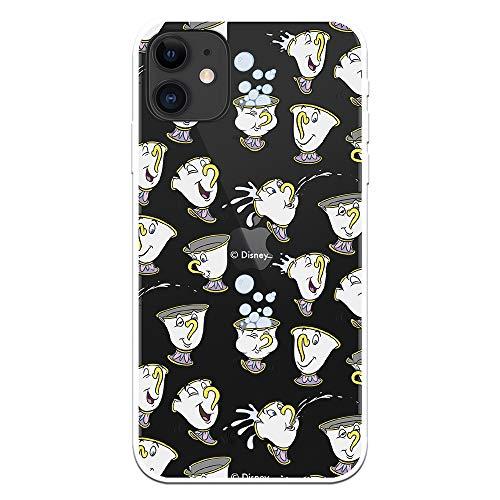Funda para iPhone 12 Mini Oficial de La Bella y la Bestia Chip Potts Siluetas para Proteger tu móvil. Carcasa para Apple de Silicona Flexible con Licencia Oficial de Disney.