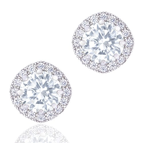 ORROUS&CO 18K Gold Plated CZ Simulated Diamond Stud Earrings for Women, Hypoallergenic, 1.9 Carat