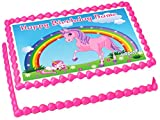 Pink Unicorn rainbow 1/4 sheet (10.5 x 8 in.) Edible cake topper image Birthday Party Decoration.