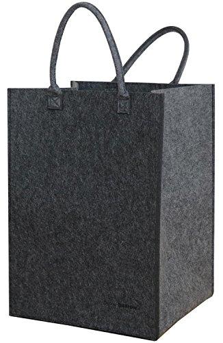 DuneDesign Borsa di Feltro Sintetico 43x38x60cm per bucato Giocattoli Grigio