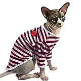 PUMYPOREITY Ropa para Gatos Esfinge, Jersey a Rayas Algodón Ropa de Gato sin Pelo Camiseta Hairless Cat(Rojo,XS)
