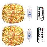 LEDライトストリングリモートコントロール、8モードdimmable 100LED銅ラインライト、クリスマス、寝室パーティー、結婚式の装飾とUSBソケットの妖精の光。 (2パック),Warmwhite