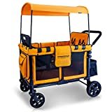 WONDERFOLD W4 Multi-Function Four Passenger Wagon, Folding Quad Push Stroller with Removable Reversible Canopy, Seats up to 4 Toddlers, Orange
