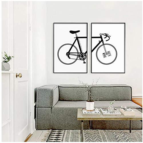 MENGX Impresión en Lienzo de Creatividad, Arte de Pared Inspirador de Bicicleta en Blanco y Negro, decoración del hogar de la Sala de Estar 50 x 70 cm (19,6 x 27,5 Pulgadas) sin Marco 2 Piezas