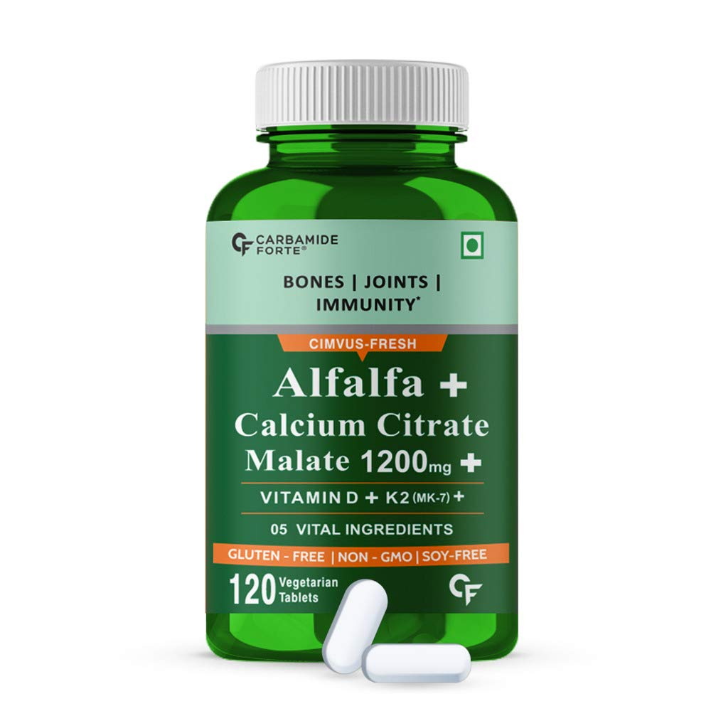 Carbamide Forte Alfalfa + Calcium Citrate Malate 1200mg is the best calcium tablets in india