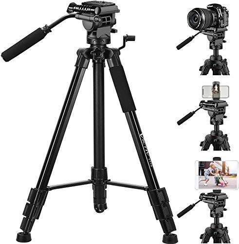 Stativ für Kamera, 185 cm DSLR-Stativ für Canon, Nikon, iPhone, Smartphone, iPad, Tablet – Professionelles Video-Stativ mit 6,8 kg Traglast, mit 2 Schnellspann-Halterungen und Tragetasche