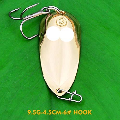 DACCU 1pc Métal Cuiller Leurre Mixte Styles Paillettes Or Argent Spinner Appâts artificiels Dur Crankbait Basse Pike Pesca Tackle, CMKC007 Or 7.5g