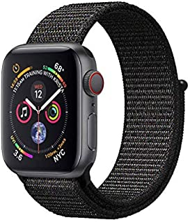 MARGOUN Nylon Sport Band for Apple Watch 45mm 44mm 42mm , Soft Replacement Strap for iWatch Series 7/ 6/ SE/ 5/4/3/2/1 (Bl...