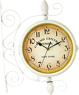 Perfk Vintage Double Sided Wall Clock Silent Railway Station Wall Art Clock White
