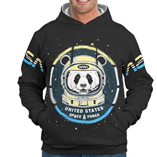 Dogedou Herren Basic Hoodie Kapuzenpullover NASA Logo 2 Slim Fit Kapuzenpullover Sweatjacke Für Frauen drakblack l