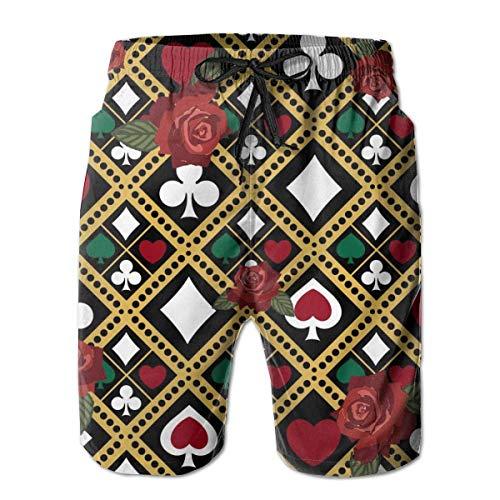 Pantalones Cortos de Playa Informales de Verano para Hombre, bañador con Bolsillos (Rose Poker Love), Talla M