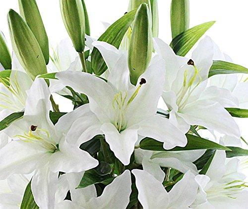 JUNGEN 5PCS Fleur artificielle Lily pour décoration de la maison 60 cm (Blanc)