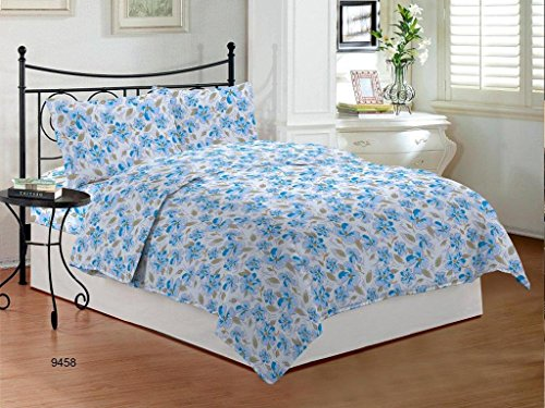 Bombay Dyeing Camellia Cotton Double Bedsheet with 2 Pillow Covers - Blue