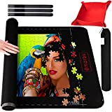 """Marbs Puzzle Mat Roll Up with Guiding Lines for 500,1000,1500 Pieces. Roll Your Jigsaw Puzzle in 30sec - Portable Storage Mat 24""""x46"""" with 2 Foam Poles, 3 Fastening Straps, Sorting Tray & Storage Bag"""