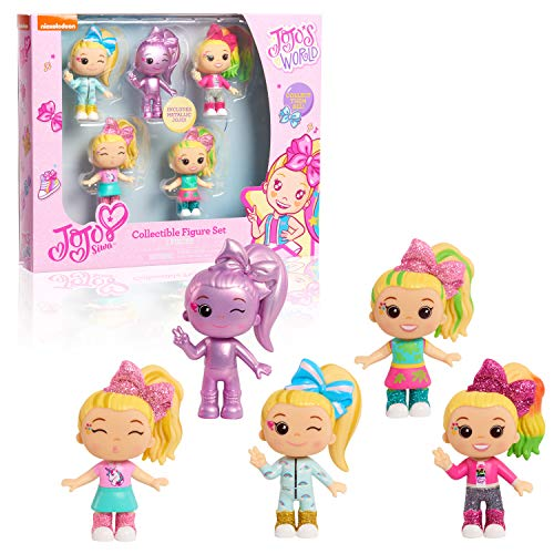 JOJO Siwa 3-Inch Tall Collectible Figures, 5-Piece Set Including Candy Store, Hold The Drama, Slime, Slumber Party, and Even a Metallic, Amazon Exclusive