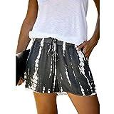 HIRIRI Women Summer Active Shorts Casual Elastic Waist Drawstring Shorts with Pockets Comfy Loose Short Pants Gray