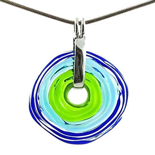 Unwiderstehliche Kette mit Anhänger aus Murano-Glas in blau-grünen Farben | Glas-Wechsel-Schmuck | Unikat handmade | Personalisiertes Geschenk für Sie zum Hochzeitstag Jahrestag Geburtstag Mama Dame