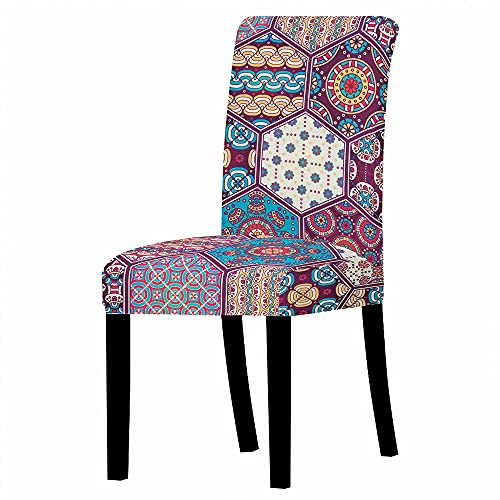 GVJKCZ Fundas para sillas,Flor de rombo Amarillo Azul púrpura sillas Elásticas y Modernas Funda Asiento...