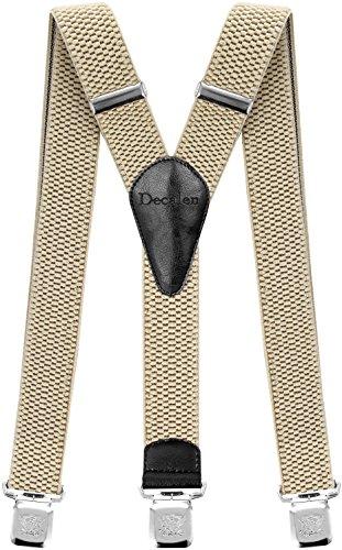 Decalen Hosenträger für Herren breit extra starken Clips Y Form Lang Eine Größe Passt Alle Männer und Damen Verschiedenen Farben (Hellbeige)