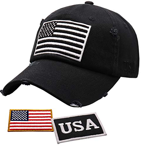 Antourage American Flag Hat for Men and Women | Vintage Baseball Tactical Hat Cap with USA Flag + 2 Patriotic Patches ((17) Black/White)