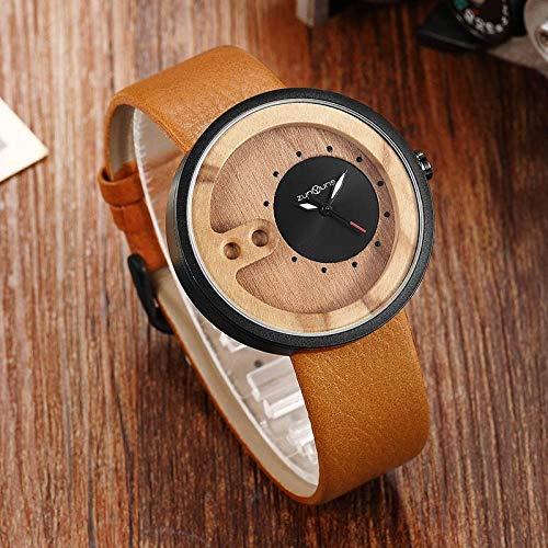 Reloj de pulsera para hombre de madera de nogal, para hombre, correa de piel lisa, estilo vintage, reloj de madera CHFYG (color: 3)