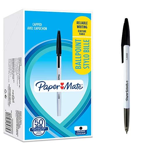 Paper Mate 045 bolígrafos - Punta fina (0,7mm), Tinta negra, 50unidades