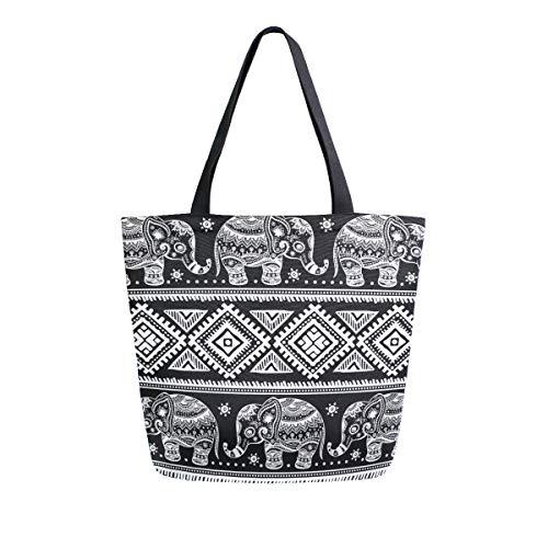 ZZXXB Wiederverwendbare Einkaufstasche mit Ethno-Elefanten-Motiv, strapazierfähig, Leinen, groß, faltbar, waschbar, für Damen