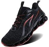 ALLCHAR Herren Sneaker Sportschuhe Outdoorschuhe Laufschuhe Leichtathletikschuhe, Schwarz Rot, 39 EU