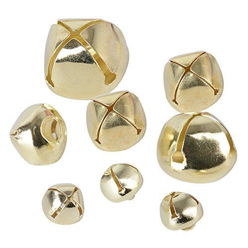 300pcs Cascabeles Dorados para Decoración de Navidad y Manualidades DIY, Dorado (100 unidades 10mm + 100 unidades...