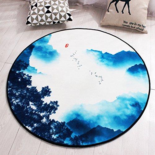 Good thing tapis Tapis rond anti-dérapant paysage peinture tapis ordinateur chaise pad panier tapis tapis de tente, tapis de chevet, imperméable à l'eau (taille : Diameter 100cm)