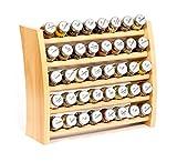 Gewürzregal, Küchenregal aus Holz für Gewürze und Kräuter, 40 Gläser, Gald - 40F 8x5 naturell mat