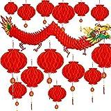 Guirnalda de dragón chino para colgar (21 unidades, para colgar en 3D, para primavera china), color rojo