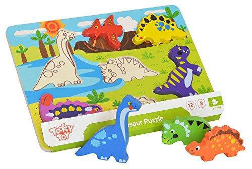Tooky Toy Puzzle dinosaures en bois multicolore, TKC392